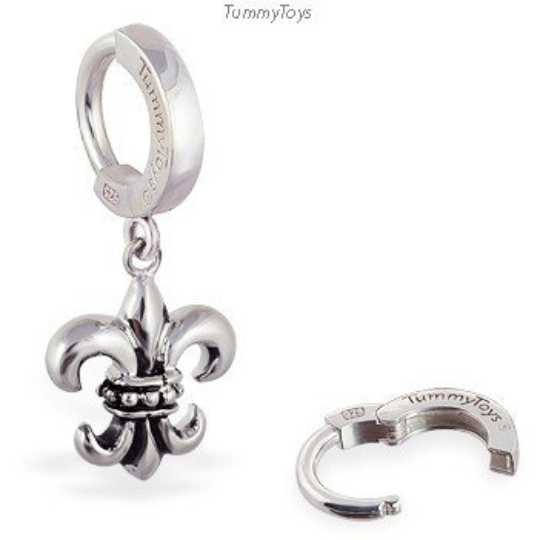 TummyToys Fleur De Lis Gothic Belly Ring | Solid Silver - TummyToys