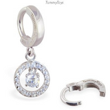 TummyToys Round Silver & CZ Belly Ring Dangle - TummyToys