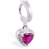 Dazzling Vibrant Red Heart Charm On Sterling Silver Belly Ring By Tummytoys - TummyToys