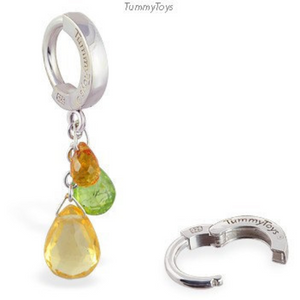 TummyToys Silver & Gem Cluster Belly Ring - TummyToys