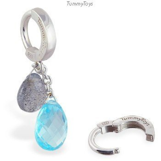 Labradorite and Blue Topaz Belly Button Ring | Solid Silver Clasp - TummyToys