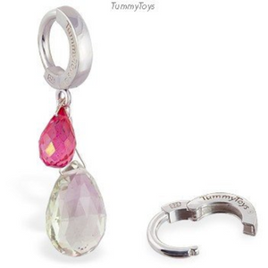 Green Quartz & Mystic Pink Topaz Belly Ring | Sterling Silver Clasp - TummyToys