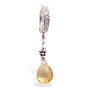 Citrine And Silver Tummytoys Belly Ring - TummyToys