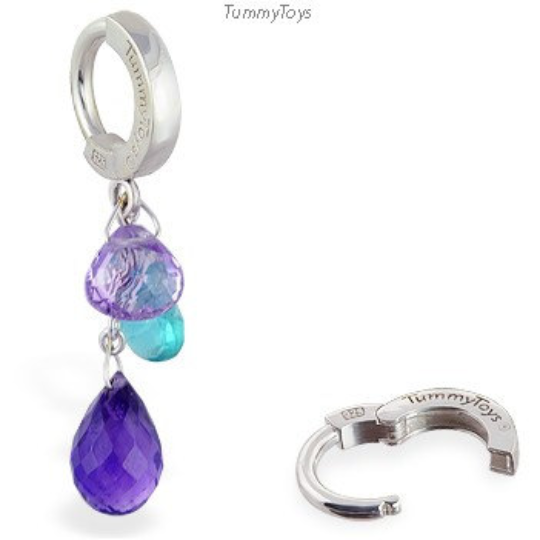 Natural Gemstone Belly Ring with Amethsyt and Topaz Dangle - TummyToys