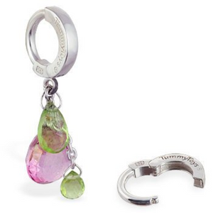 Green Peridot and Pink Topaz Belly Ring | Solid .925 Sterling Silver Navel Ring - TummyToys