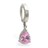 Surgical Steel Belly Ring with Pink CZ Dangle - TummyToys