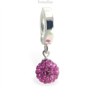 TummyToys Dazzling Hot Pink Crystal Belly Ring | Silver Clasp with Pink Dangle - TummyToys