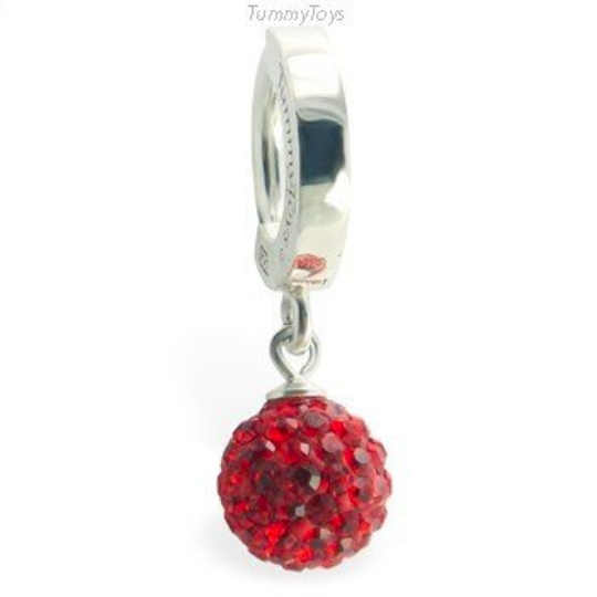 TummyToys Surgical Steel Belly Ring with  Red Crystal Ball Dangle - TummyToys