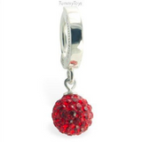 Sexy Red Crystal Disco Ball on Silver Belly Ring - TummyToys