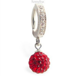 Red Hot Crystal Belly Button Ring | Silver & CZ Clasp - TummyToys