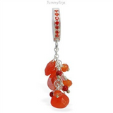 Stunning Fire Orange Opal Belly Ring | Solid Silver with Gemstone Dangle - TummyToys