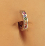 Silver and Rainbow Belly Ring | Sterling Silver with Rainbow CZ Stones - TummyToys