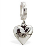 "TummyToys Silver Puffed ""Forever"" Heart Belly Ring - TummyToys"