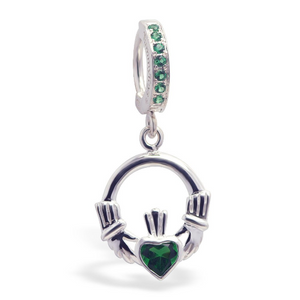 Green CZ Clasp with Green Claddagh Belly Ring - TummyToys