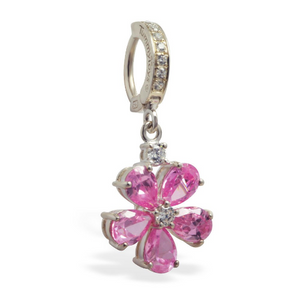 Pink CZ Flower Belly Ring with 5 CZ Petals On Sterling Silver CZ Clasp - TummyToys
