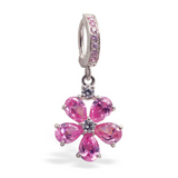 Pink Flower Belly Ring with 5 CZ Petals On Sterling Silver Pink CZ Clasp - TummyToys