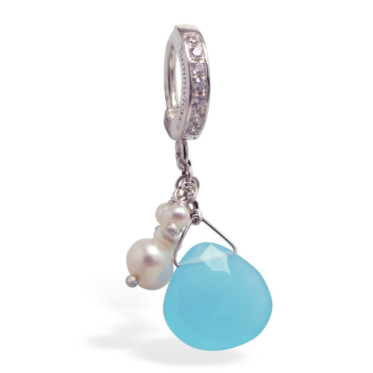TummyToys Soft Blue And Creamy Pearl Belly Ring | Solid Silver with Freshwater Pearls - TummyToys
