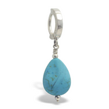 Turquoise Teardrop Belly Ring | Solid Silver Clasp - TummyToys