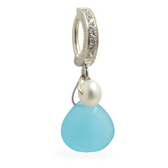 TummyToys Soft Blue & Creamy Pearl Belly Ring | Perfect for Summer