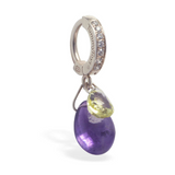 Natural Gemstone & Silver Belly Ring with Amethyst And Lemon Quartz Dangle - TummyToys