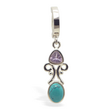 Amethyst & Turquoise Belly Button Ring | Solid Sterling Silver Clasp - TummyToys
