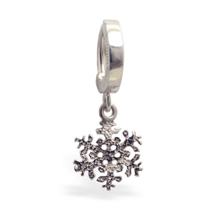 Sterling Silver Snowflake Belly Ring - TummyToys