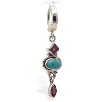 Garnet & Turquoise Belly Ring | Solid Sterling Silver - TummyToys
