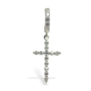 TummyToys Diamond CZ Cross Belly Ring | Silver and CZ Clasp - TummyToys