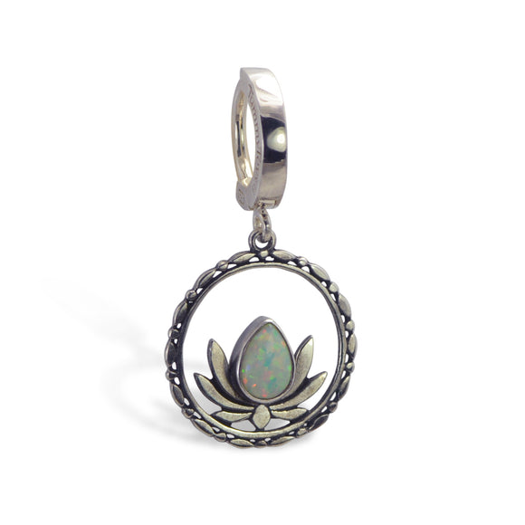 Opal Belly Ring | Lotus Dangle Charm - TummyToys