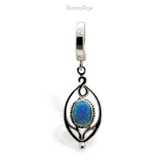 Sterling Silver and Opal Belly Button Ring | 14 Guage