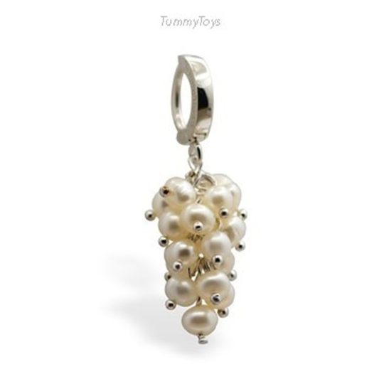 Beautiful Pearl Belly Button Ring | Sterling Silver with Freshwater Pearls - TummyToys