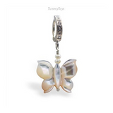Mother of Pearl Butterfly Belly Button Ring | Solid Sterling Silver Clasp - TummyToys