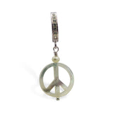 Mother of Pearl Belly Ring | Sterling Silver with MoP Peace Sign Dangle - TummyToys