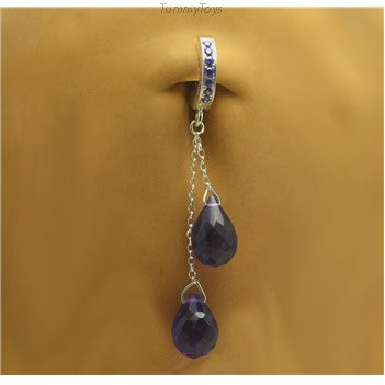 Purple Amethyst Quartz Belly Ring | Silver with Chain Dangle - TummyToys