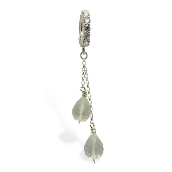 Crystal Quartz Belly Ring | Chain Dangle on Clear CZ Clasp - TummyToys