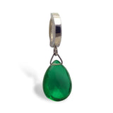 Silver Belly Ring with Green Quartz Dangle Charm - TummyToys