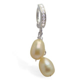 Clear CZ Belly Ring with Cream Pearl Dangle - TummyToys