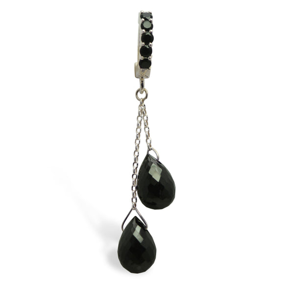 Sterling Silver Belly Ring with Brilliant Black On Black Quartz Dangle - TummyToys