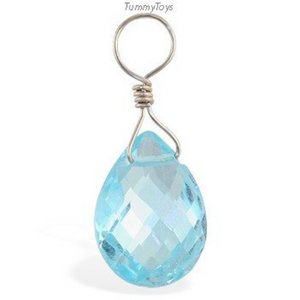 Changeable 14K Blue Topaz Swinger Belly Button Ring Charm - TummyToys