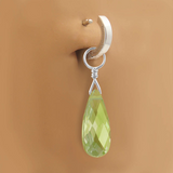 Changeable Lime CZ Belly Ring Dangle Charm | Sterling Silver with Lime Green CZ Gem - TummyToys