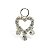 Heart CZ Charm With Bezel Drops Swinger Charm By Tummytoys - TummyToys