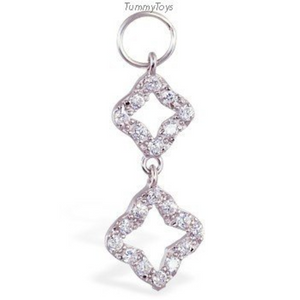 Changeable CZ Open Clover Belly Ring Swinger Charm Exclusively By Tummytoys - TummyToys