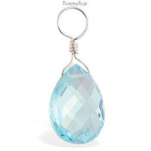 Changeable Blue Topaz Belly Ring Dangle Charm - TummyToys
