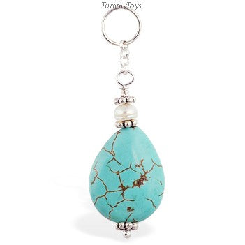 Changeable Turquoise Belly Ring Swinger Charm - TummyToys