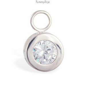 Stunning Changeable CZ Round Dangle Belly Ring Dangle Charm - TummyToys