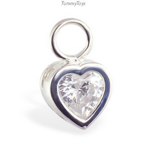 Changeable CZ Heart Belly Ring Swinger Charm - TummyToys
