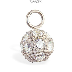 Changeable CZ Disco Ball Belly Ring Swinger Charm - TummyToys