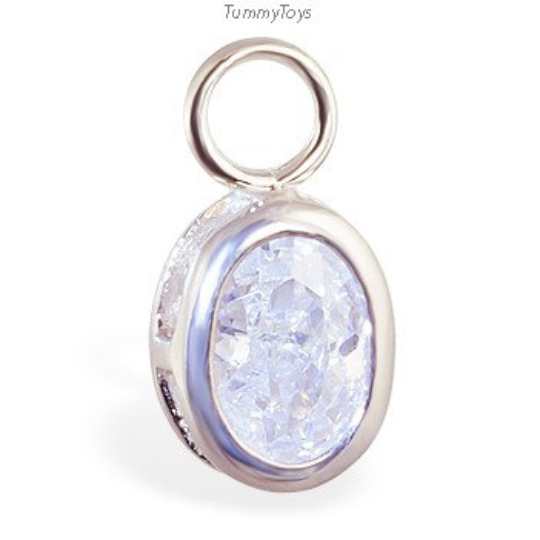 Changeable Oval CZ Belly Ring Swinger Charm - TummyToys