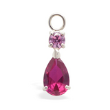 Changeable Pink CZ Belly Ring Swinger Charm By Tummytoys - TummyToys