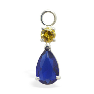 Changeable Sapphire Blue CZ Belly Ring Swinger Charm By Tummytoys - TummyToys